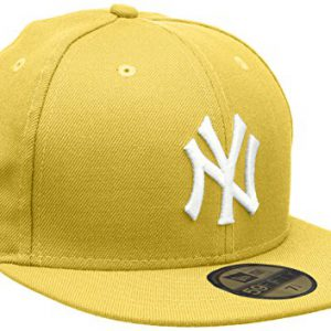 New Era MLB Basic NY Yankees 59 Fifty Fitted - Gorra para hombres, color amarillo/ blanco (cyber yellow), talla 6.875