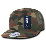 Decky 6 Panel Flat Bill Trucker - Gorra para hombre, color bosque, talla n/a